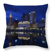 Columbus City At Twlight Throw Pillow by Dick Wood