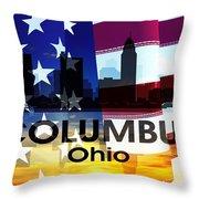 Columbus Oh Patriotic Large Cityscape Throw Pillow