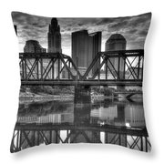 Columbus Ohio Downtown Bw Throw Pillow