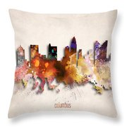 Columbus Painted City Skyline Throw Pillow