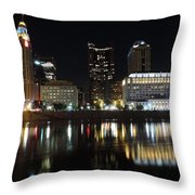 Columbus Skyline At Night Throw Pillow