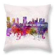 Columbus Skyline In Watercolor Background Throw Pillow