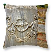 Column Along Sacred Road In Pergamum-turkey  Throw Pillow