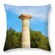 Column At The Temple Of Hera Olympia Greece Throw Pillow