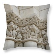 Column Relief Abbey Fontevraud  Throw Pillow