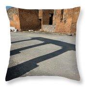 Column Shadows Forum At Pompeii Italy Throw Pillow