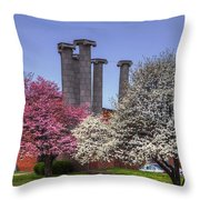 Columns And Dogwood Trees Throw Pillow