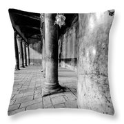 Columns At The Church Of Nativity Black And White Vertical Throw Pillow