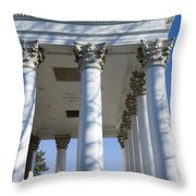 Columns Facing The Lawn Of The Rotunda Throw Pillow