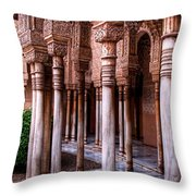 Columns Of The Court Of The Lions Throw Pillow