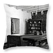 Comandancia's Quarter In The Presidio Of Santa Barbara Bw Throw Pillow
