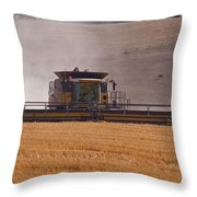 Combine Harvester And Cows Throw Pillow