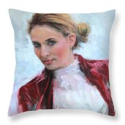 Come A Little Closer Young Woman Portrait Throw Pillow by Talya Johnson