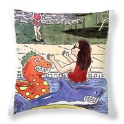 Come On In, The Water's Fine Throw Pillow