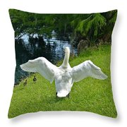 Come On Little Ones Back In The Water Throw Pillow