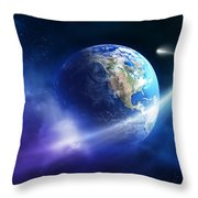 Comet Moving Passing Planet Earth Throw Pillow