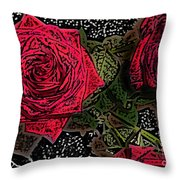 Comic Book Roses Throw Pillow