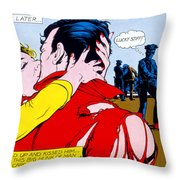 Comic Strip Kiss Throw Pillow by MGL Studio