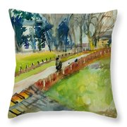 Coming Home From Work, 1982 Wc On Paper Throw Pillow