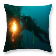 Commercial Diver At Work Throw Pillow