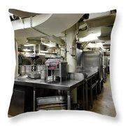 Commercial Kitchen Aboard Battleship Throw Pillow