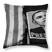 Commercialization Of The President Of The United States Of America In Black And White Throw Pillow