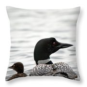 Common Loon And Baby Throw Pillow