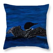 Common Loon Preening Throw Pillow