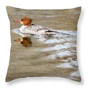Common Merganser Hen Throw Pillow