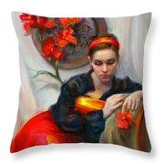 Common Threads - Divine Feminine In Silk Red Dress Throw Pillow by Talya Johnson