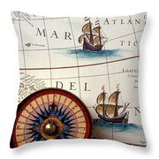 Compass And Old Map With Ships Throw Pillow