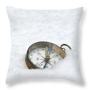 Compass In Snow Throw Pillow