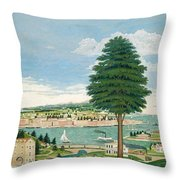 Composite Harbor Scene With Castle Throw Pillow