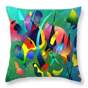 Composition In Blue And Green Throw Pillow