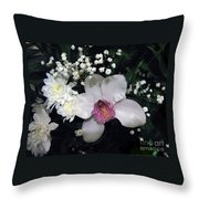 Composition With A Pink Orchid Throw Pillow