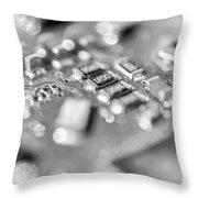 Computer Board High Key Black And White Throw Pillow