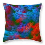 Computer Generated Abstract Red And Green Fractal Flame Throw Pillow