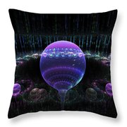 Computer Generated Blue Purple Abstract Fractal Flame Black Background Throw Pillow