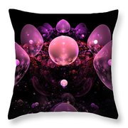 Computer Generated Pink Abstract Bubbles Fractal Flame Art Throw Pillow