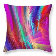 Computer Generated Pink Abstract Fractal Throw Pillow