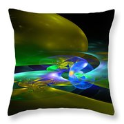 Computer Generated Planet Sphere Abstract Fractal Flame Modern Art Throw Pillow