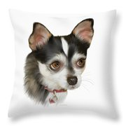 Computer Generated Portrait Of A Dog Throw Pillow