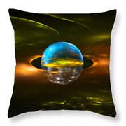 Computer Generated Sphere Abstract Fractal Flame Modern Art Throw Pillow