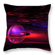 Computer Generated Sphere Red Abstract Fractal Flame Art Throw Pillow