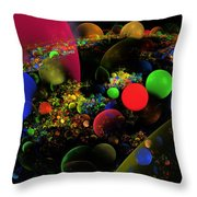 Computer Generated Spheres Abstract Fractal Flame Art Throw Pillow