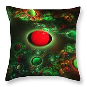 Computer Generated Spheres Abstract Fractal Flame Modern Art Throw Pillow