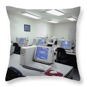 Computer Lab, C1990 Throw Pillow