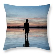 Concept Image Of Young Boy Walking On Water In Sunset Landscape Digital Painting Throw Pillow by Matthew Gibson