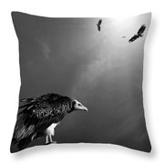 Conceptual - Vultures Awaiting Throw Pillow by Johan Swanepoel