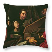 Concert With Musicians And Singers, C.1625 Oil On Canvas Throw Pillow